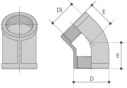 Knie 45° BI/BI