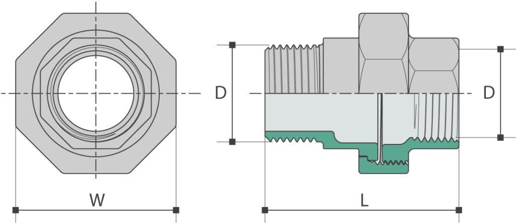 Raccord mâle/femelle (3 pièces) à joint plat teflon