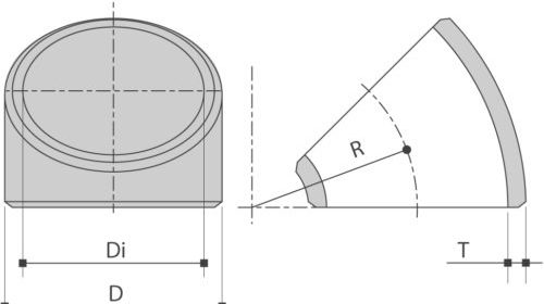 RVS lasBOCHT 45° ASTM A403 Schedule10-20 is verkrijgbaar bij Sadel Stainless Steel in RVS-inox 304L - 316L