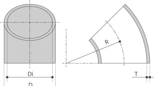 RVS lasBOCHT 45° EN10253-4 is verkrijgbaar bij Sadel Stainless Steel in RVS-inox 304L - 316L