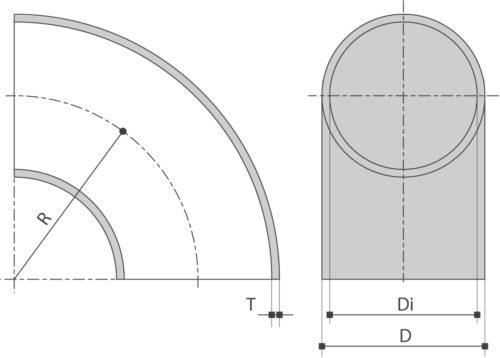 RVS lasBOCHT 90° EN10253-4 is verkrijgbaar bij Sadel Stainless Steel in RVS-inox 304L - 316L