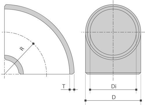 RVS lasBOCHT 90° ASTM A403 Schedule10-20 is verkrijgbaar bij Sadel Stainless Steel in RVS-inox 304L - 316L