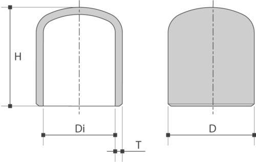 Holle bodem / Cap is verkrijgbaar bij Sadel Stainless Steel NV in RVS-inox kwaliteitL- 304L en 316L volgens ASTM A403